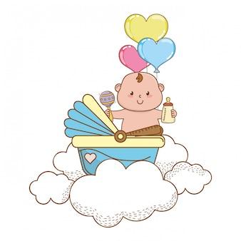 Ilustração bonito bonito do chuveiro de bebê
