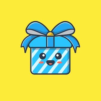 Ilustração bonito da mascote da caixa de presente