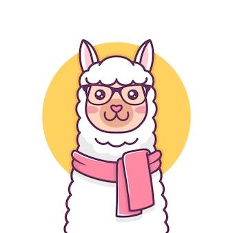Ilustração bonito de alpaca hipster