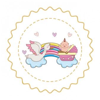 Ilustração bonito de chuveiro de bebê