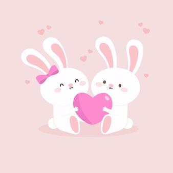 Ilustração bonito dia dos namorados casal de animais