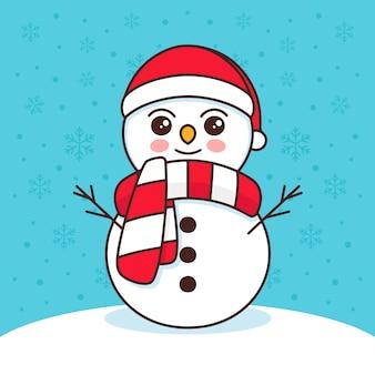 Ilustração bonito do boneco de neve kawaii
