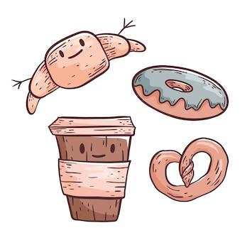 Ilustração bonito do doodle. café em copo plástico e salgadinhos