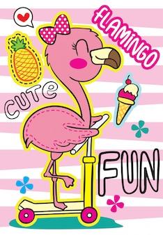 Ilustração bonito do flamingo para a camisa de t