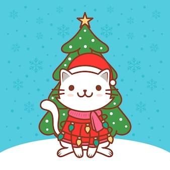 Ilustração bonito do gato do natal