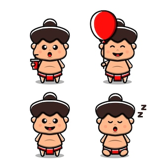 Ilustração bonito do ícone do vetor de sumô. isolado. estilo de desenho animado adequado para adesivo, página de destino da web, banner, folheto, mascotes, pôster.