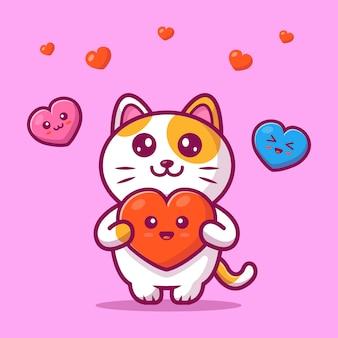 Ilustração bonito do vetor de cat holding kawaii love. gato e coração