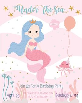 Ilustração bonito do vetor do cartão do convite da festa de anos do tema da sereia.