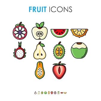 Ilustração bonito dos desenhos animados com vários ícones de frutas com contorno preto grosso