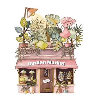 Ilustração bonito dos desenhos animados da casa do mercado de jardim