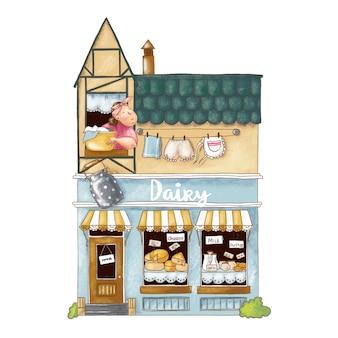 Ilustração bonito dos desenhos animados da loja com produtos lácteos