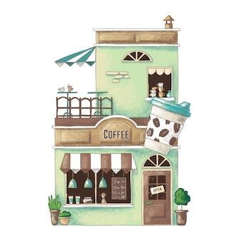 Ilustração bonito dos desenhos animados da loja de café