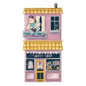 Ilustração bonito dos desenhos animados da loja de doces