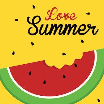 Ilustração bonito dos desenhos animados da melancia do vetor. bem-vindo ao conceito de verão