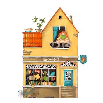 Ilustração bonito dos desenhos animados de loja de livros