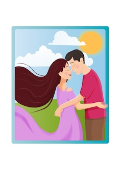 Ilustração bonito dos desenhos animados de mulher jovem e homem apaixonado, abraçando