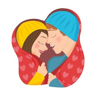 Ilustração bonito dos desenhos animados de uma jovem e um homem apaixonado, se abraçando e coberto com um cobertor
