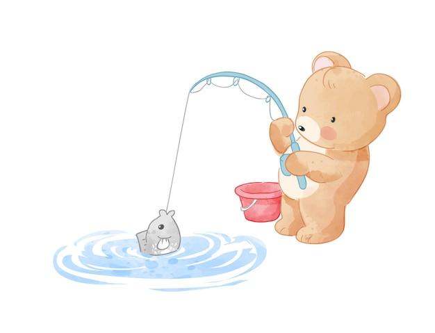 Ilustração bonito dos desenhos animados de urso pescando na lagoa