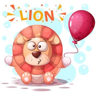 Ilustração bonito dos desenhos animados do caráter do leão.