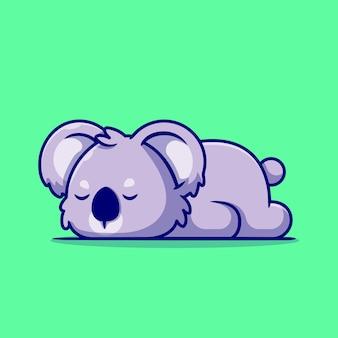 Ilustração bonito dos desenhos animados do coala dormindo.