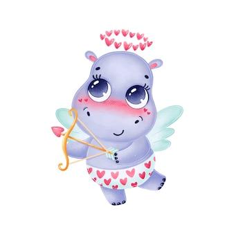 Ilustração bonito dos desenhos animados do dia dos namorados de hipopótamo cupido com asas isoladas no fundo branco