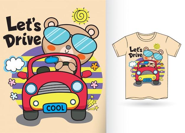 Ilustração bonito dos desenhos animados do gato para a camisa de t