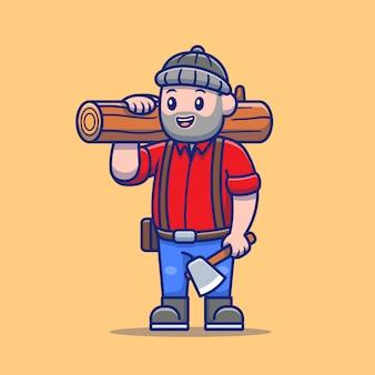 Ilustração bonito dos desenhos animados do lenhador.