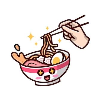 Ilustração bonito dos desenhos animados do macarrão de ramen.