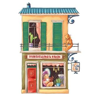 Ilustração bonito dos desenhos animados do salão de cabeleireiro