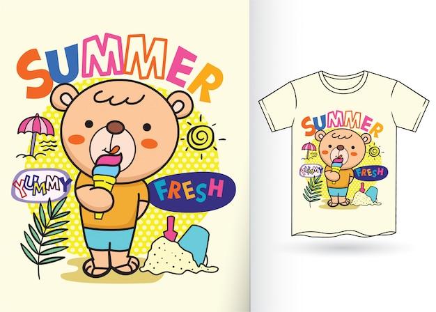 Ilustração bonito dos desenhos animados do urso pequeno para a camisa de t