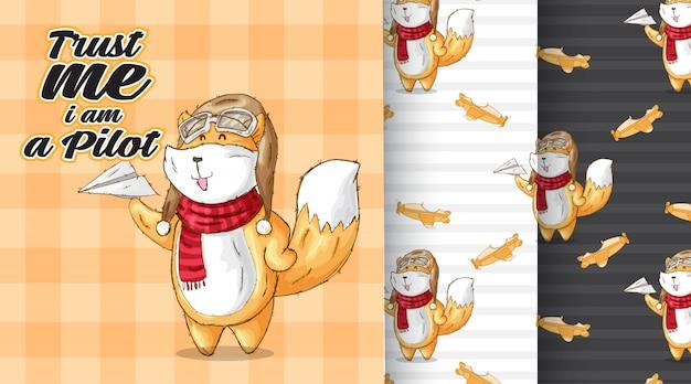 Ilustração bonito fox padrão