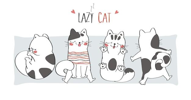 Ilustração bonito gato preguiçoso