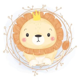 Ilustração bonito leão aquarela