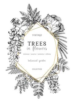 Ilustração botânica com árvores desenhadas à mão em flores
