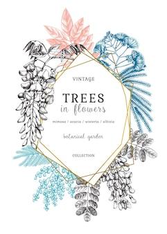 Ilustração botânica com esboços de árvores em flores