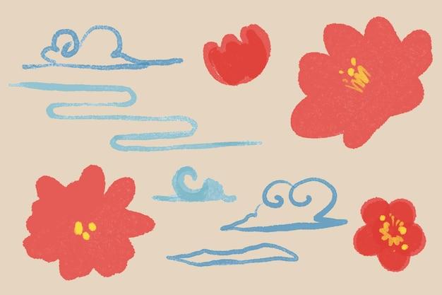 Ilustração botânica da flor da flor da ameixa vermelha