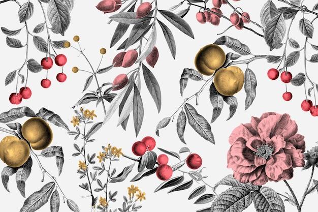 Ilustração botânica e frutas rosa vintage padrão vetorial