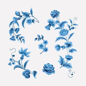Ilustração botânica vintage de ramos florais azuis