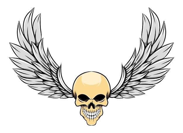 Ilustração brilhante de caveira morta vintage com asas
