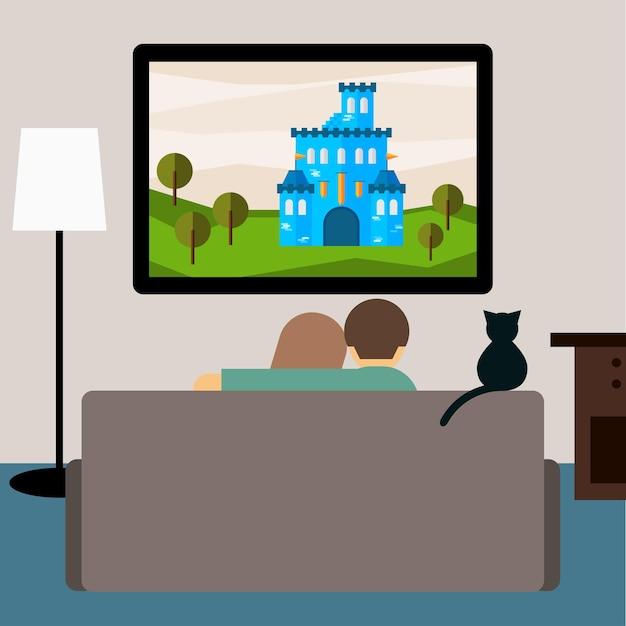 Ilustração brilhante em estilo moderno simples com casal e gato assistindo ao filme de aventura na televisão, sentado no sofá na sala para uso em design de cartão, convite, banner, cartaz, pôster
