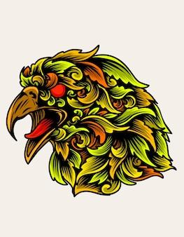 Ilustração cabeça de águia com ornamento colorido estilo
