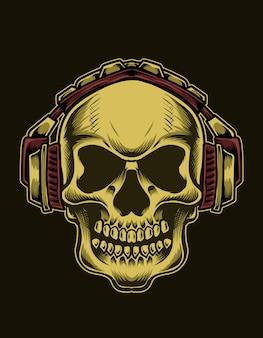 Ilustração cabeça de caveira com fones de ouvido