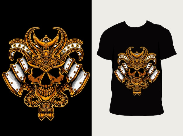 Ilustração cabeça de crânio de samurai japonês com design de camiseta