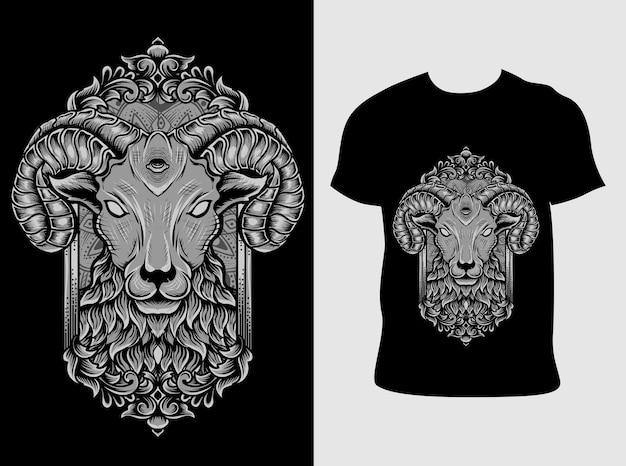Ilustração cabeça de ovelha diabo com design de camiseta
