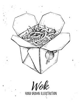Ilustração - caixa wok. fast food asiático.