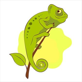 Ilustração camaleão fofo no galho
