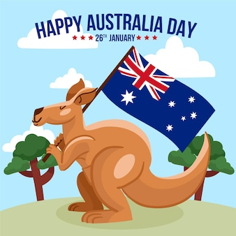 Ilustração canguru do dia da austrália