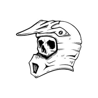 Ilustração capacete crânio tinta