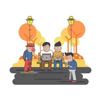Ilustração, caras, penduradas, parque