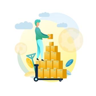 Ilustração carregando cliente de remessa de mercadorias